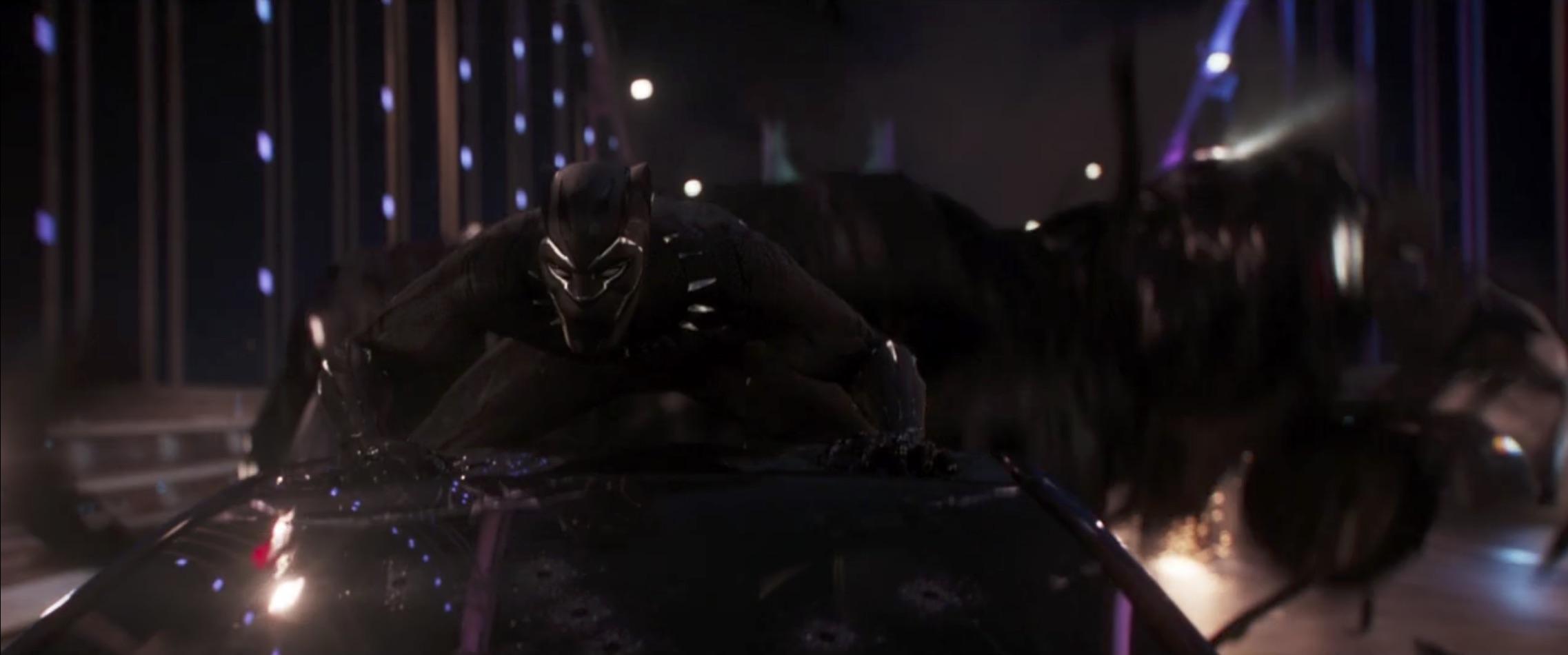 Marvel Black Panther hanging onto car