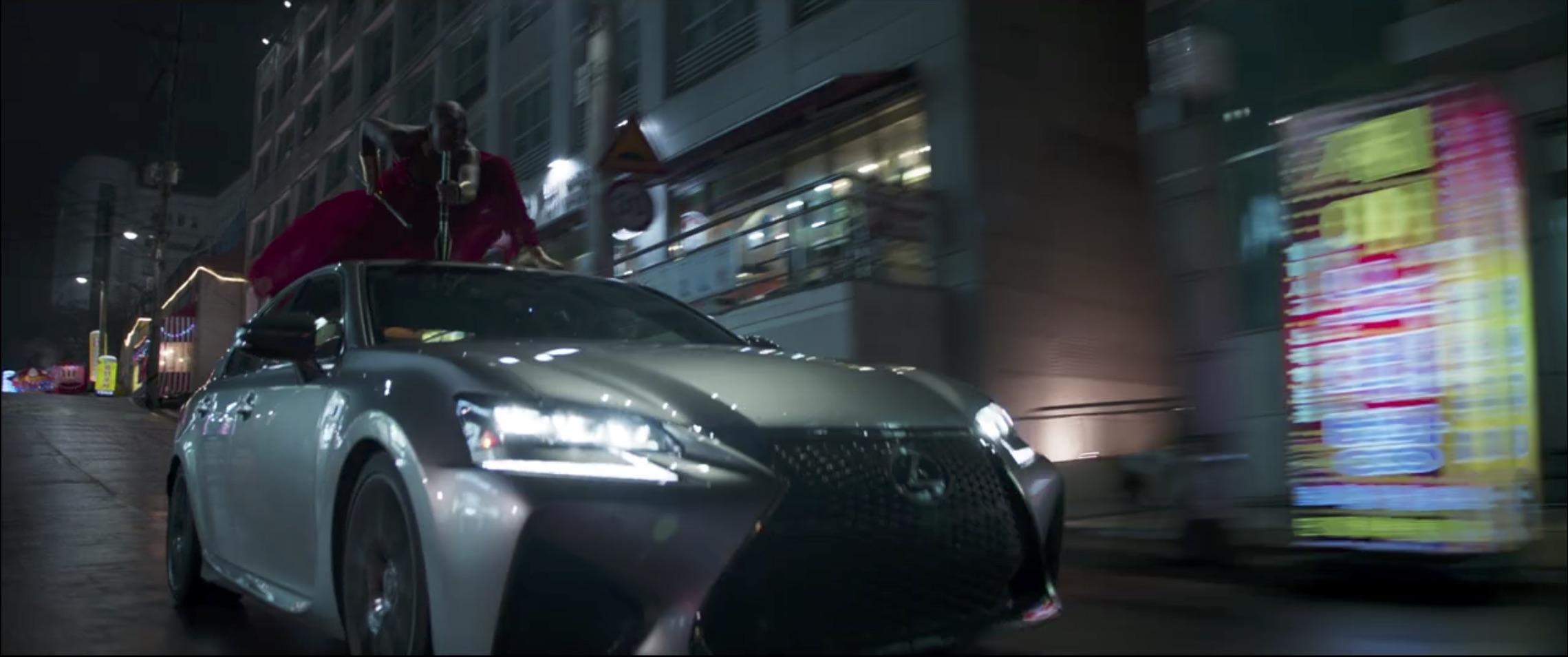 Marvel Black Panther lexus car chase sword on car