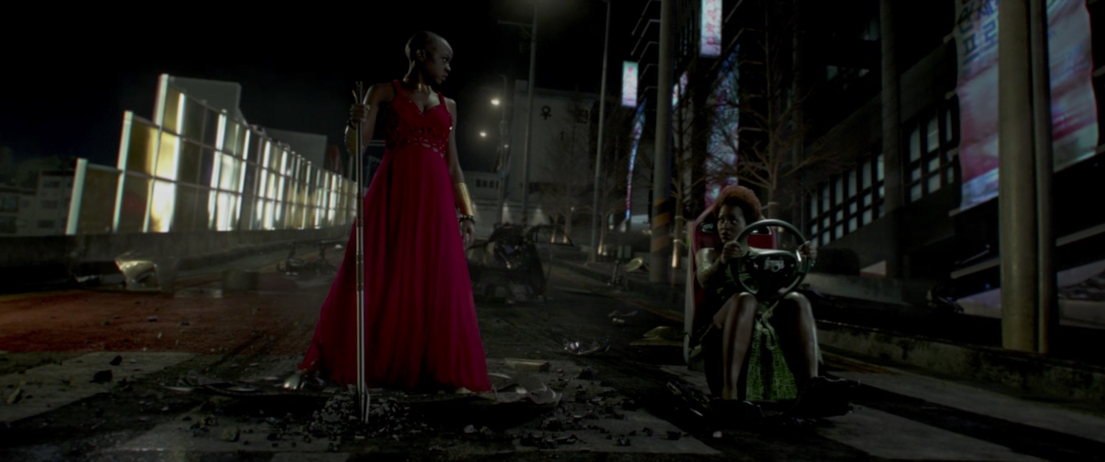 Marvel Black Panther red dress still holding wheel