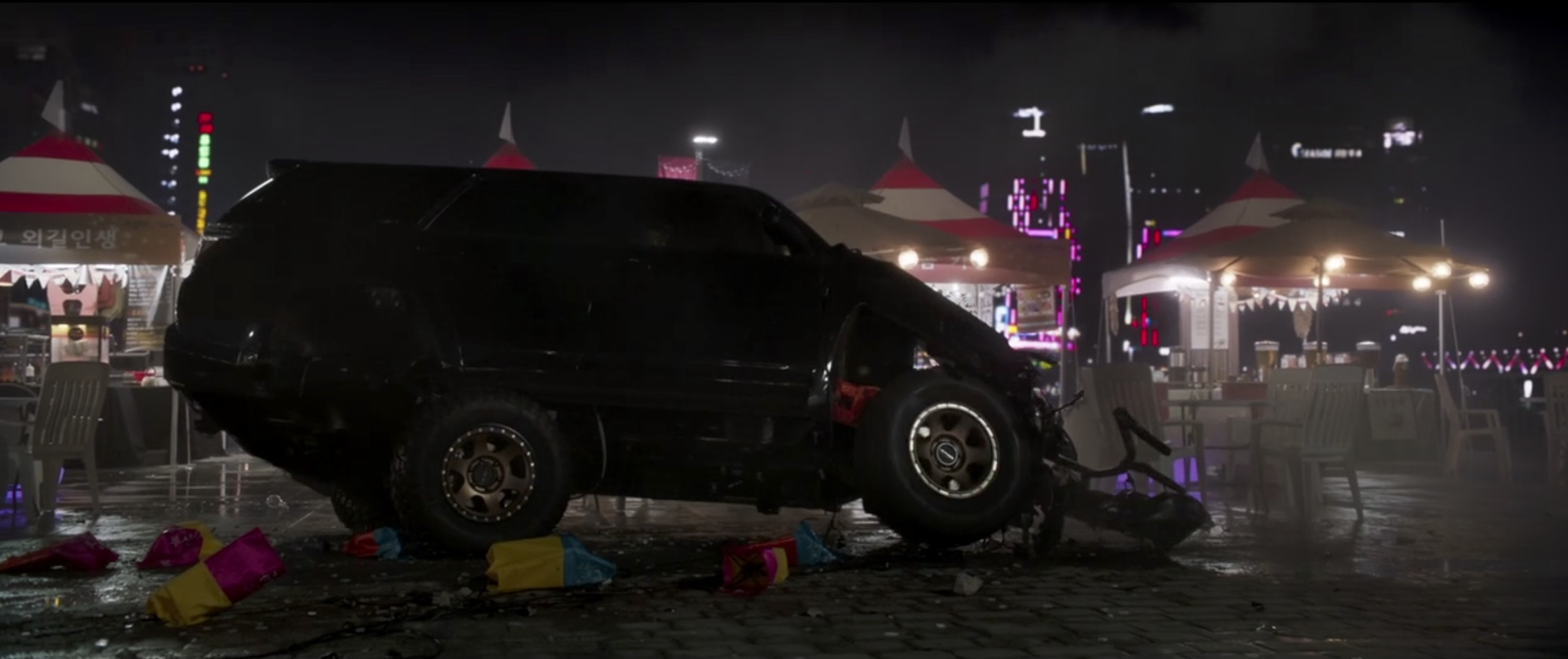Marvel Black Panther wrecked suv
