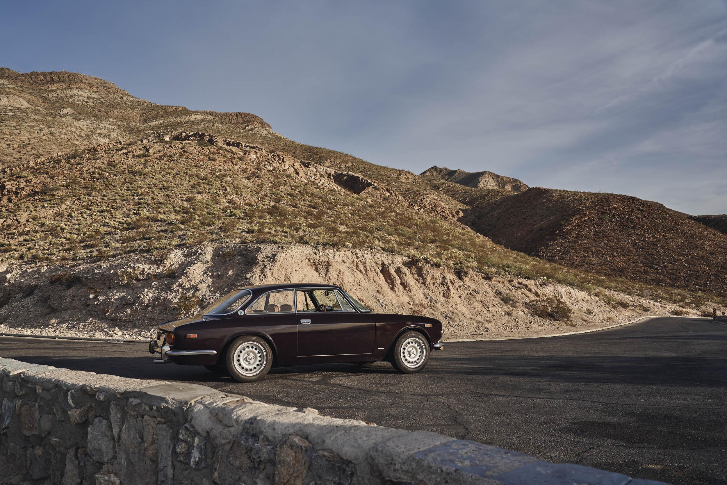 1974 Alfa Romeo GTV 2000 profile in the mountains