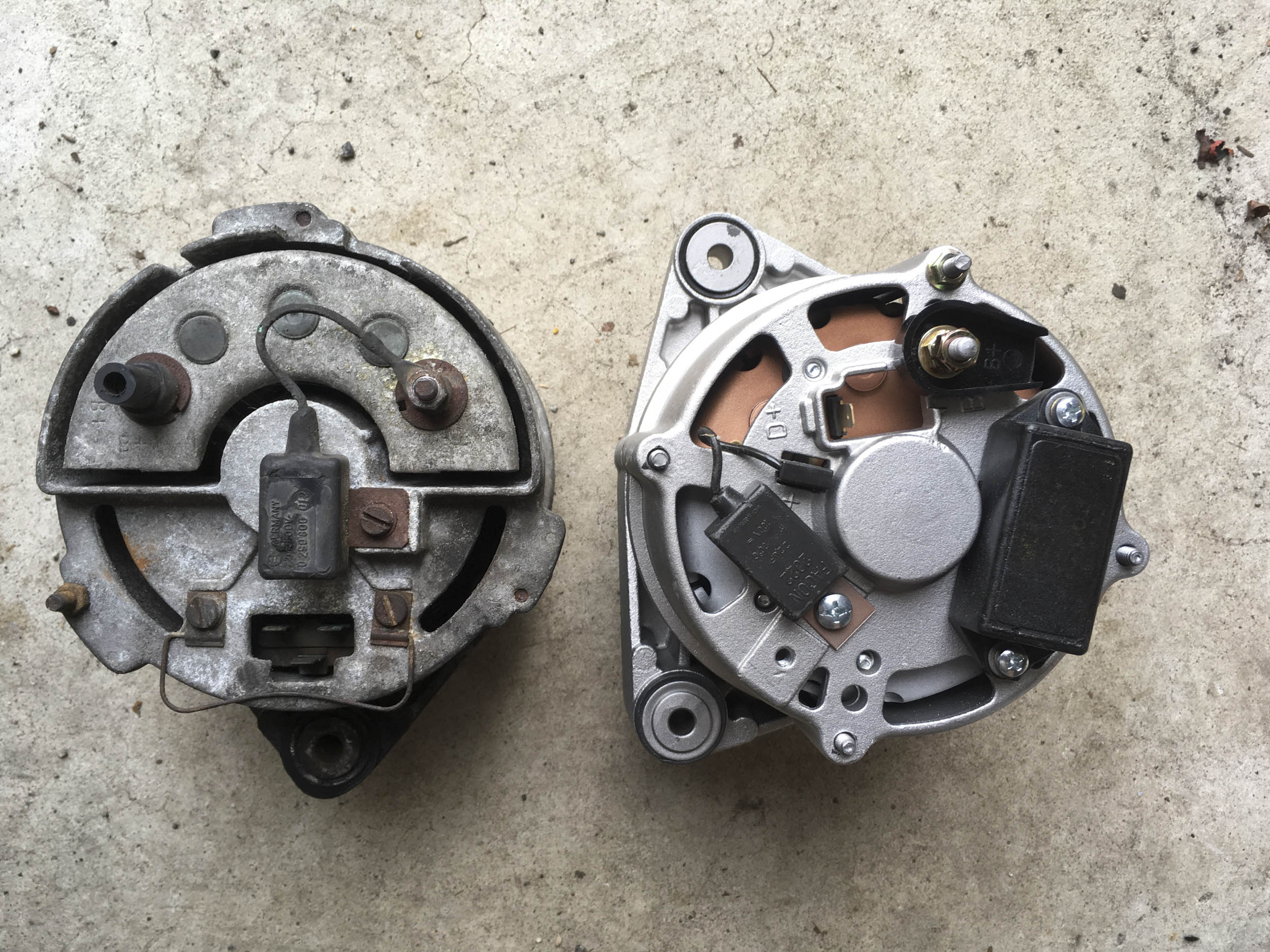 Original alternator (left) and new internally-regulated alternator (right).