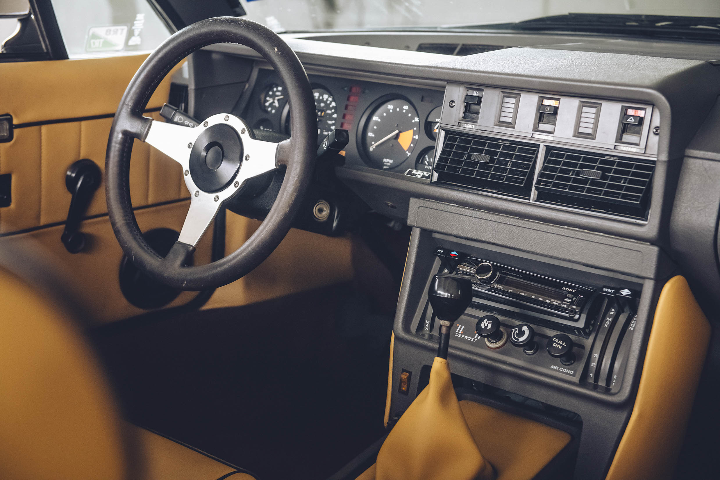 Triumph owner Gabe Rodriguez replaced the interior with leather and upgraded the wheels to 15-inch Panasports.