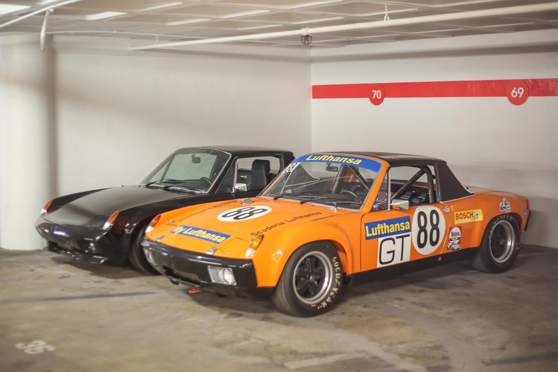 Porsche Petersen vault 914 race car orange