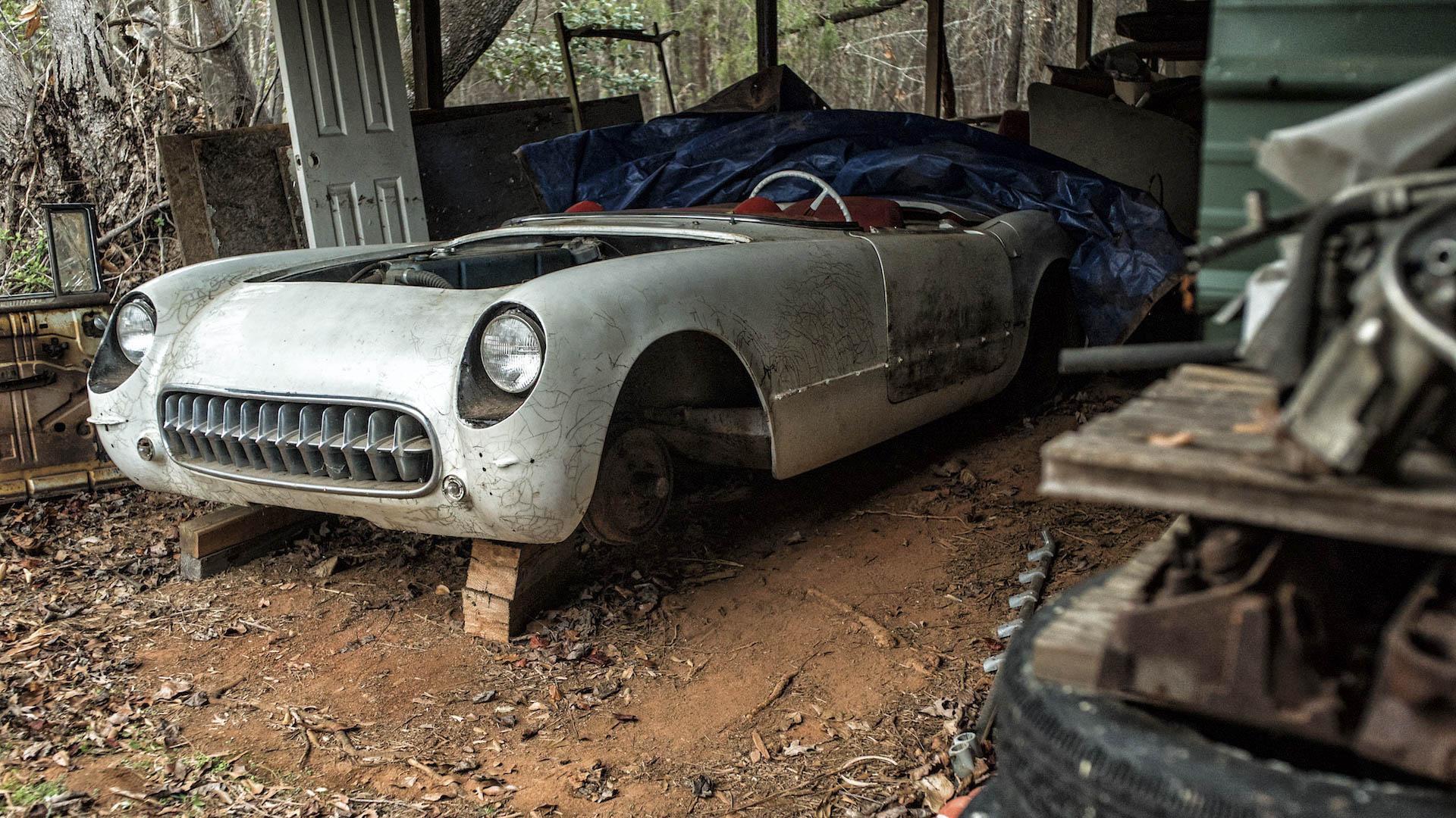 One of 3640 Corvettes built in '54, this survivor watches the seasons pass from its long-term parking spot a stone's throw from bustling I-85. But the owner won't sell.