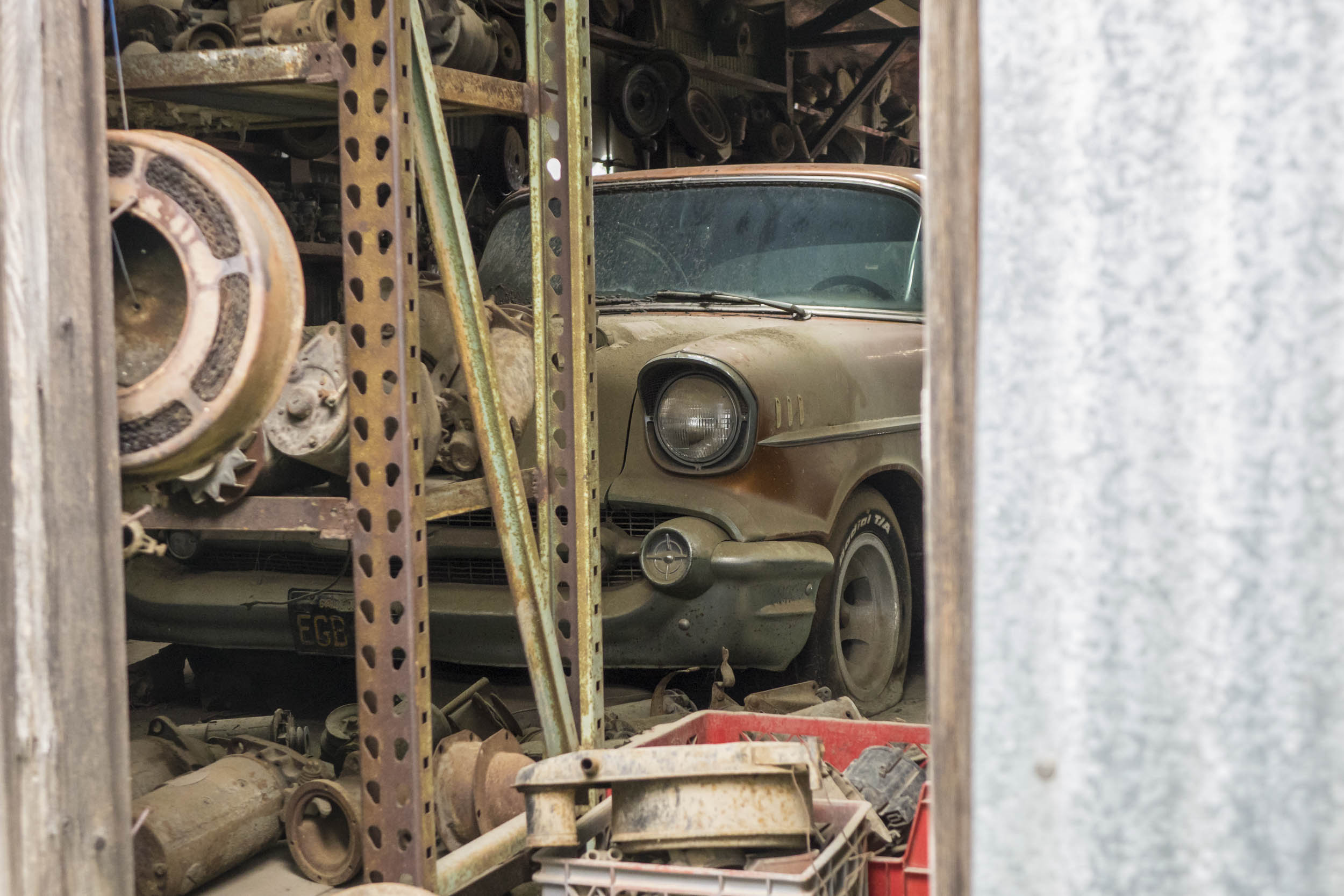 American iron forms the bulk of barn-find discoveries, such as this '57 Chevy Bel Air that has gone to ground in a hangar, one of the few '57s never to be hot-rodded.