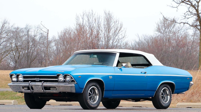 1969 Chevrolet Chevelle SS 396 convertible blue 3/4