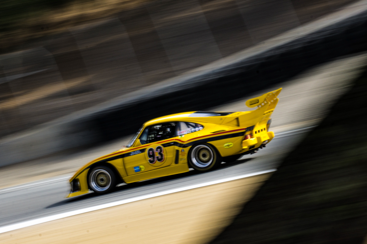 Old Porsche 935  yellow on track