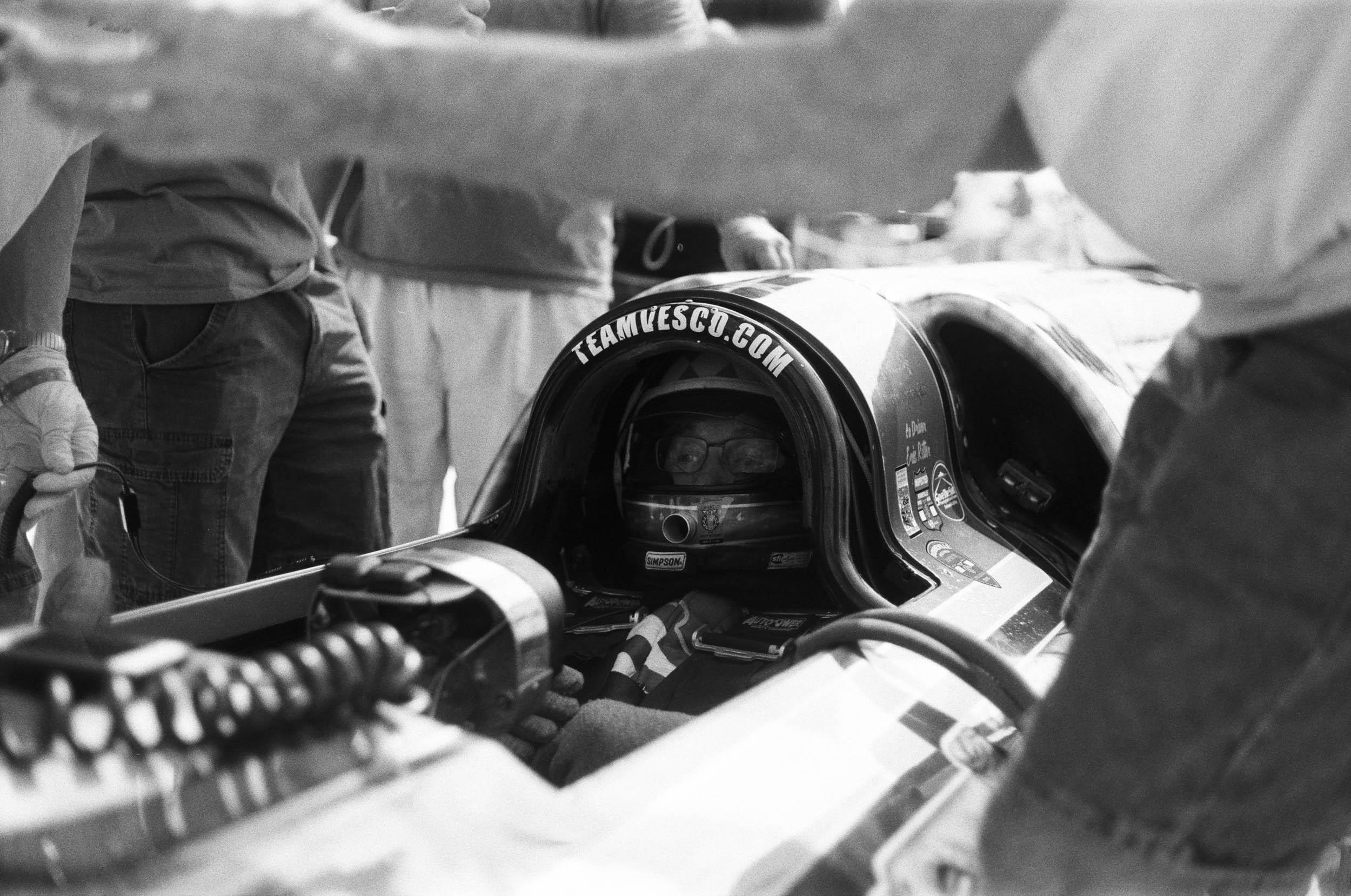 Dave Spangler awaits his turn inside the cockpit of the Turbinator II