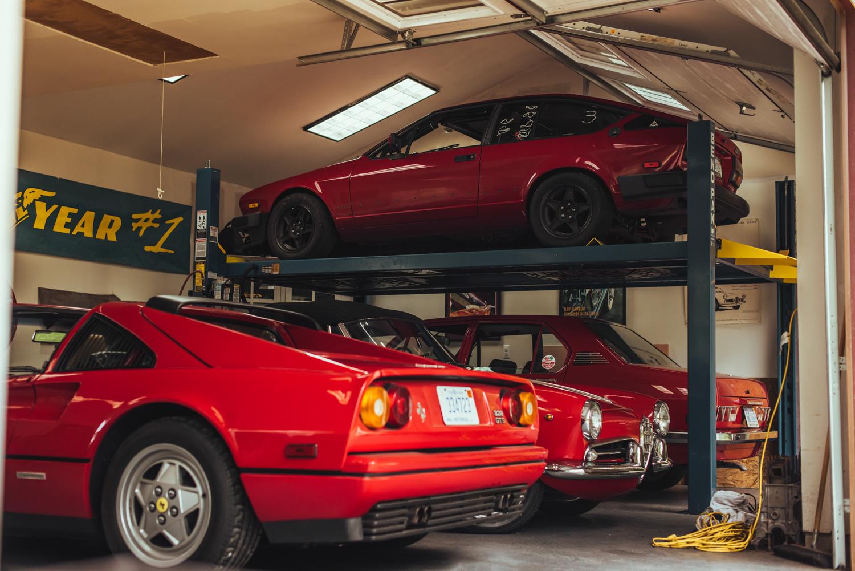 1988 1⁄2 Ferrari 328GTS; the Giulietta; 1975 Alfetta; 1984 Alfa GTV6
