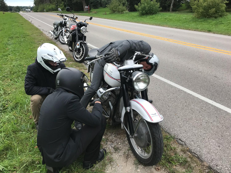 Distinguished Gentlemen Ride moto guzzi broken again