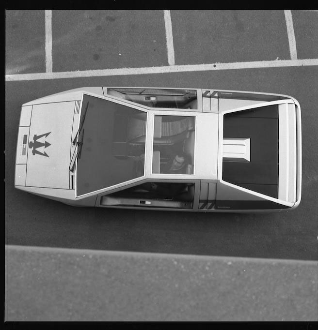 1972 Maserati Boomerang coupé overhead