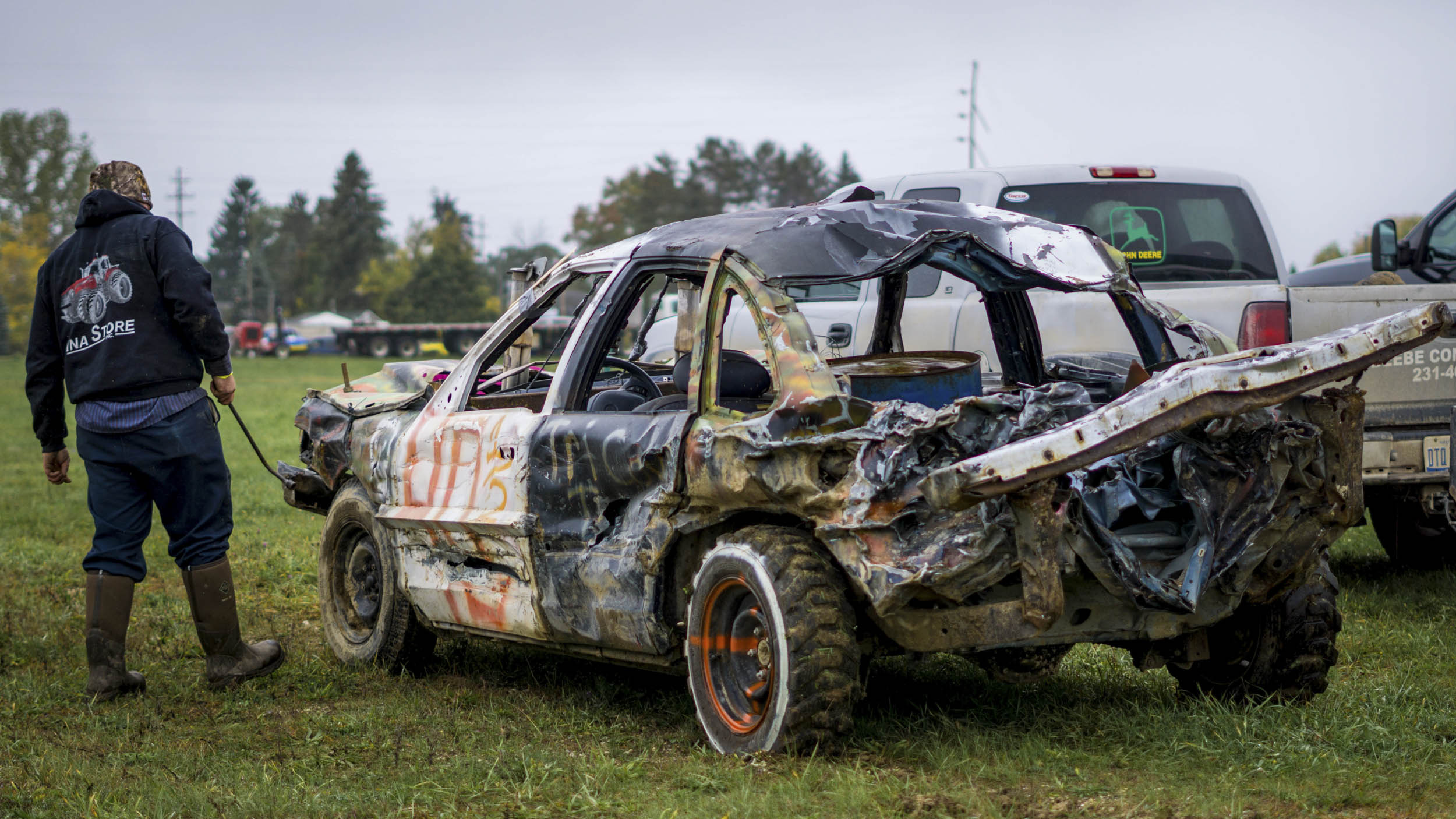 demolition derby car rear 3/4