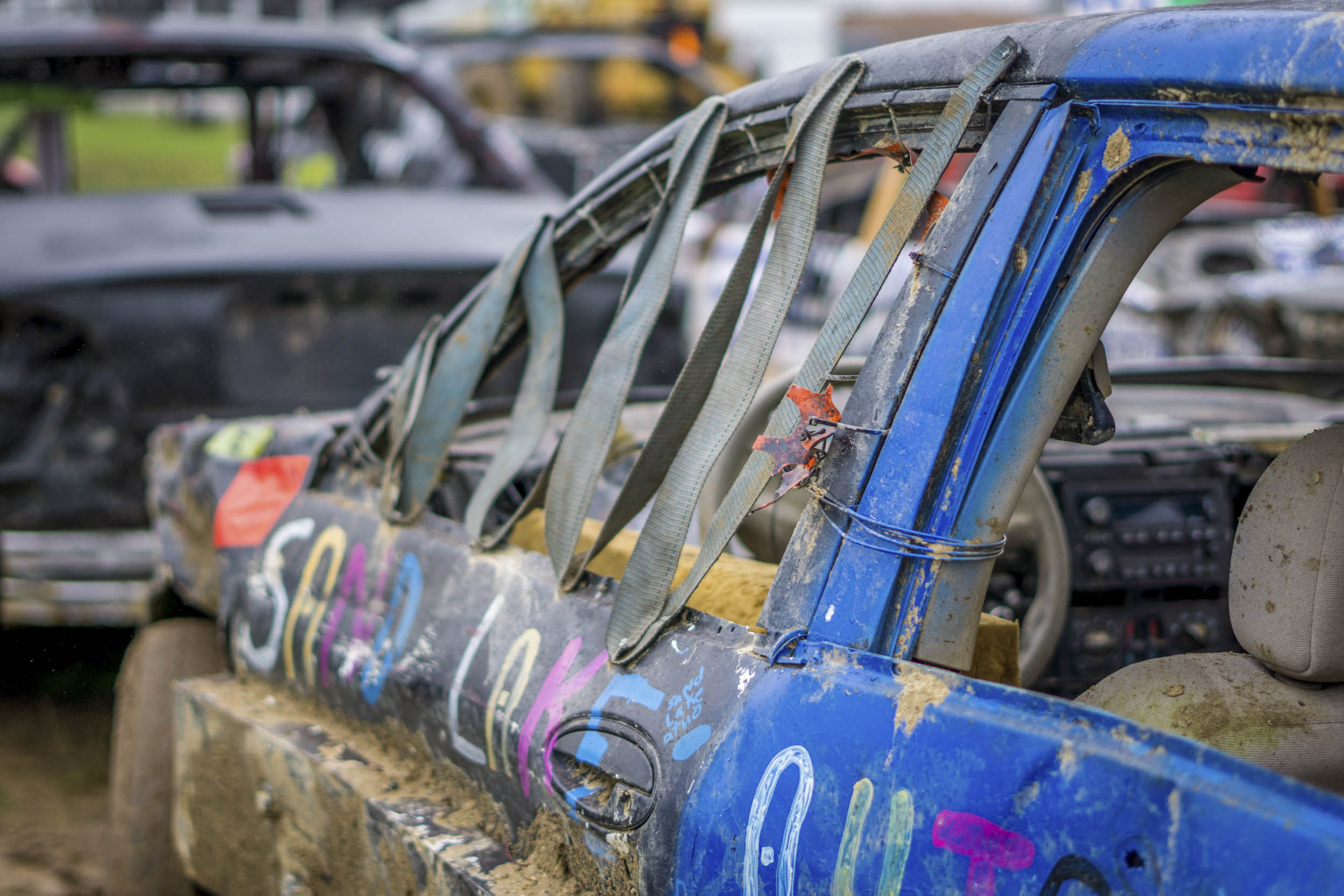 demolition derby duct tape window