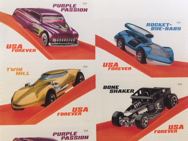 USA Forever Hot Wheels stamps