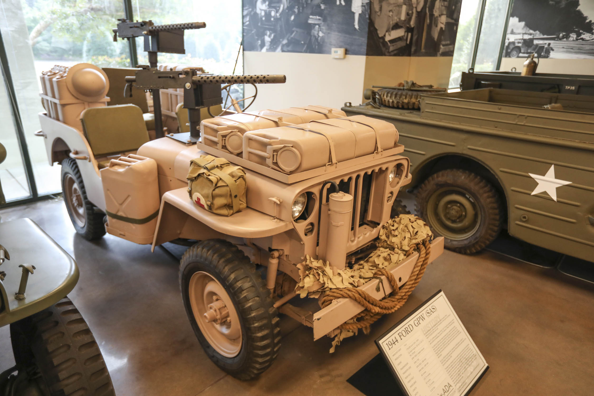 This Ford GPW is modeled after the ones used by the British Long Range Desert Group to wage war against Erwin Rommel's troops in northern Africa during WWII.