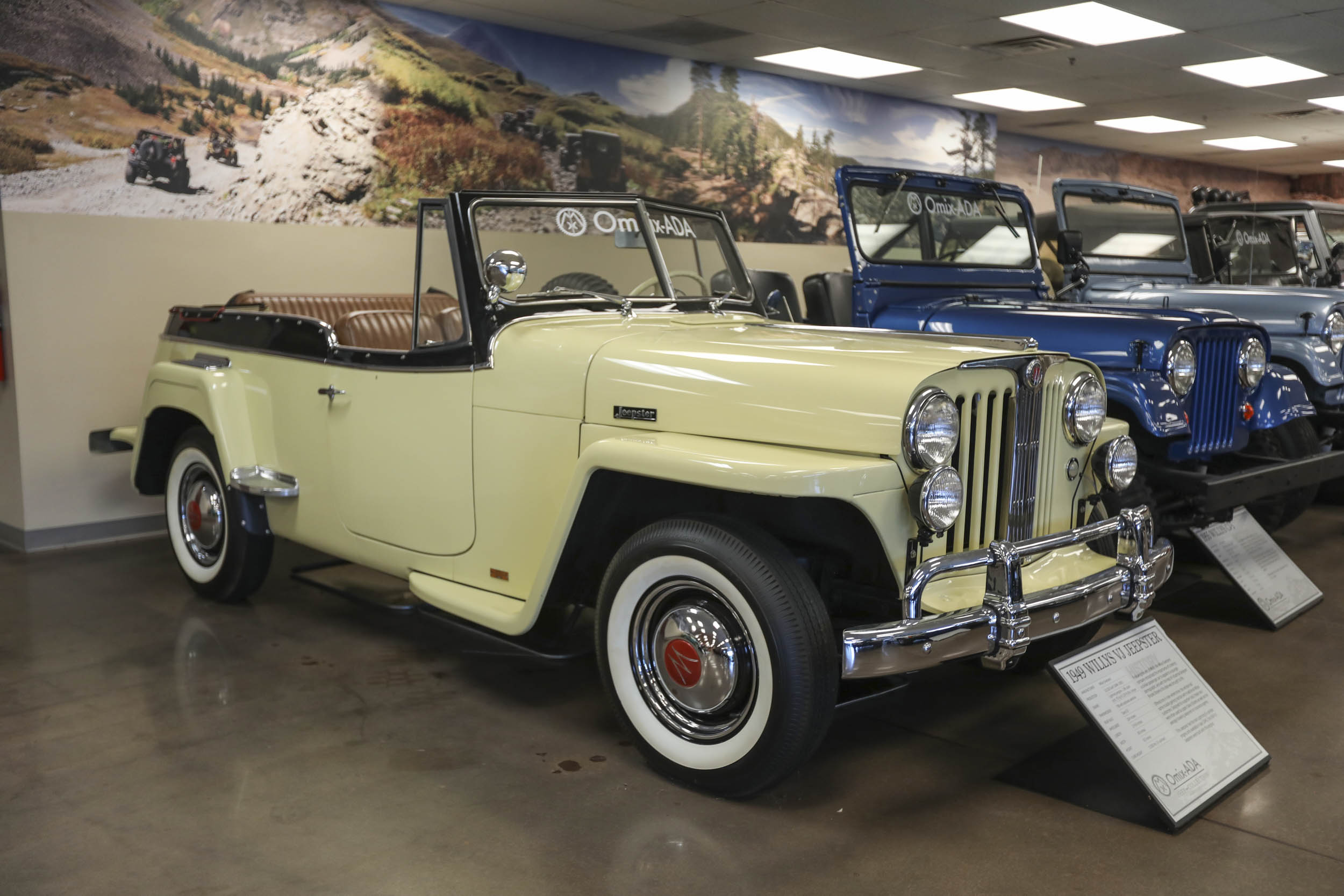 An early attempt by Willys to tap into the luxury market, the 1949 Jeepster featured an upscale interior with an engine-turned gauge panel.