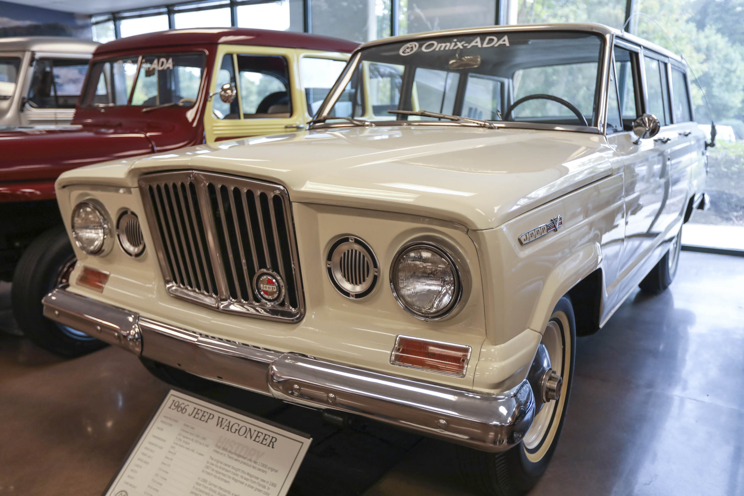 "This 1966 Jeep Wagoneer still features the vertical ""Rhino"" grille that was used on early models and was already being phased out by 1966 in favor of a full-width grille."