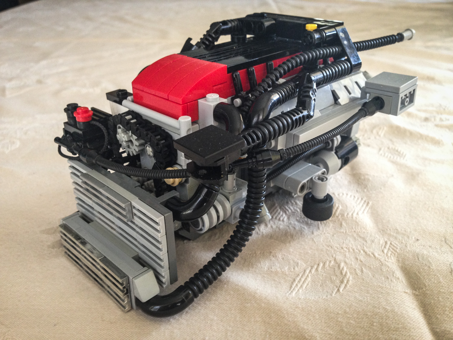 LEGO Ford Falcon Barra inline six front 3/4