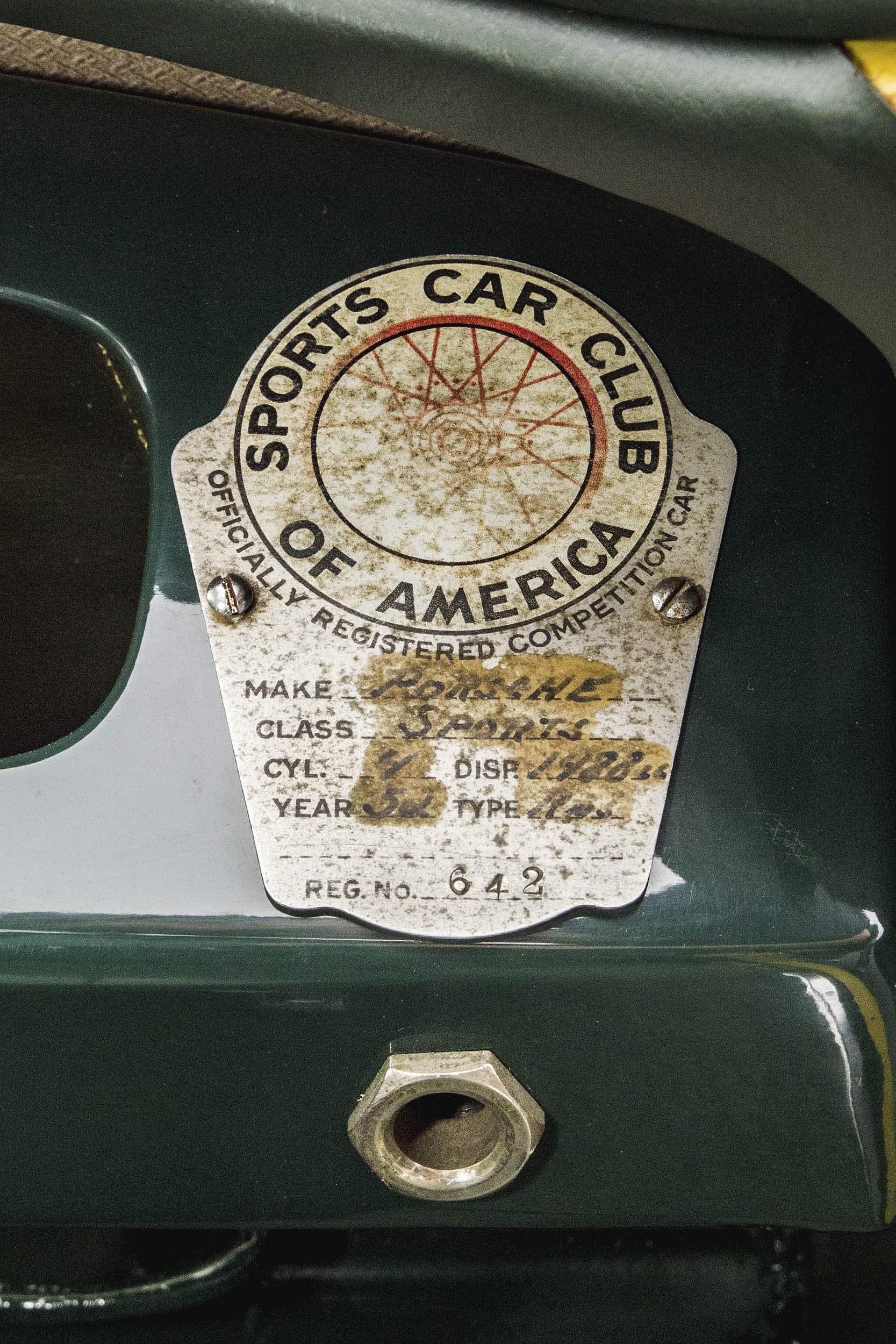 An SCCA competition badge was affixed to the dashboard many years ago.