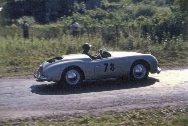 The Porsche America Roadster on its way to an overall win in the 1952 Brynfan Tyddyn Road Race with Phil Walters at the wheel.