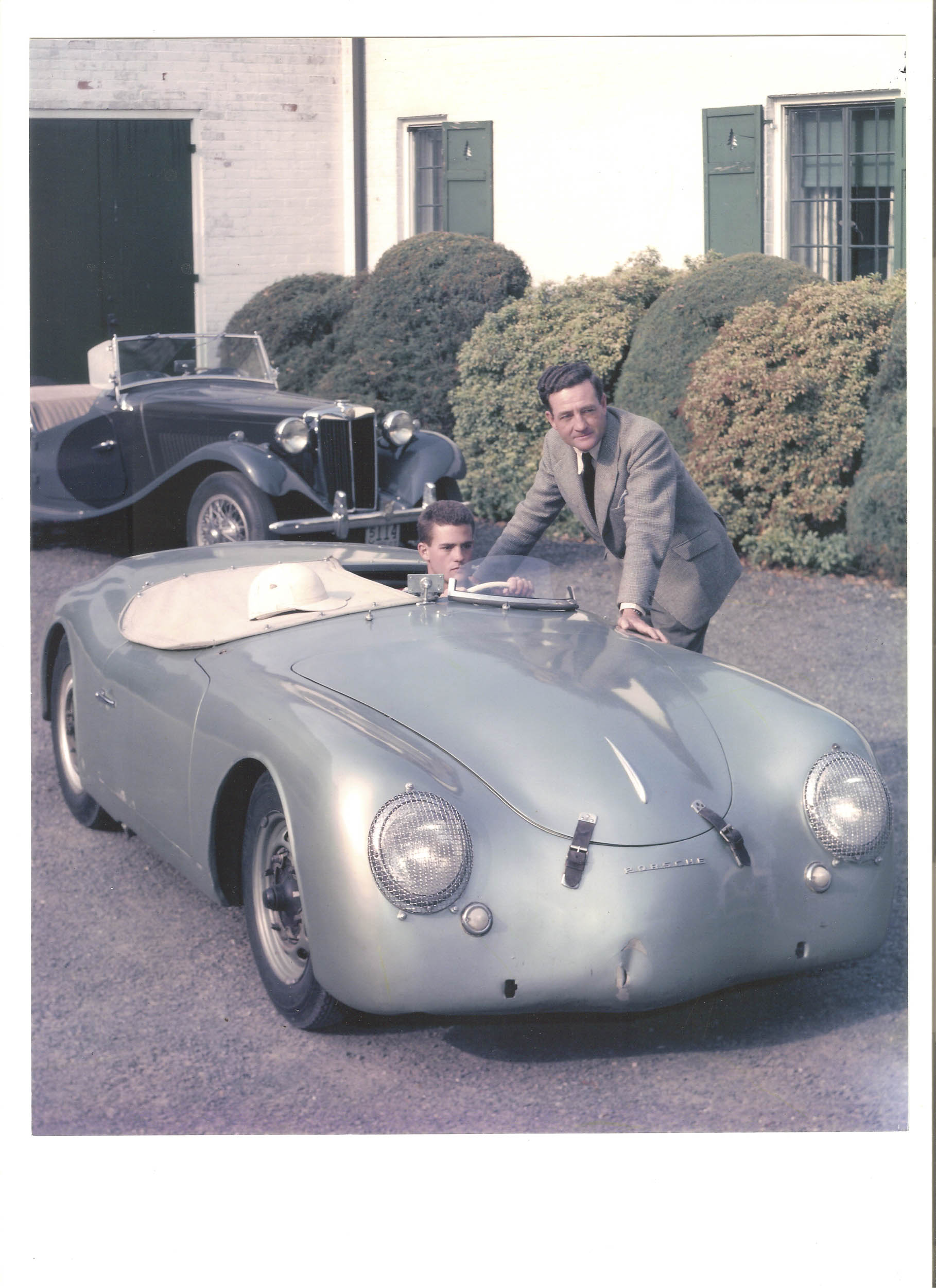 Briggs Cunningham and Briggs Jr. with the Porsche America Roadster. The original light radium green paint can be seen here.