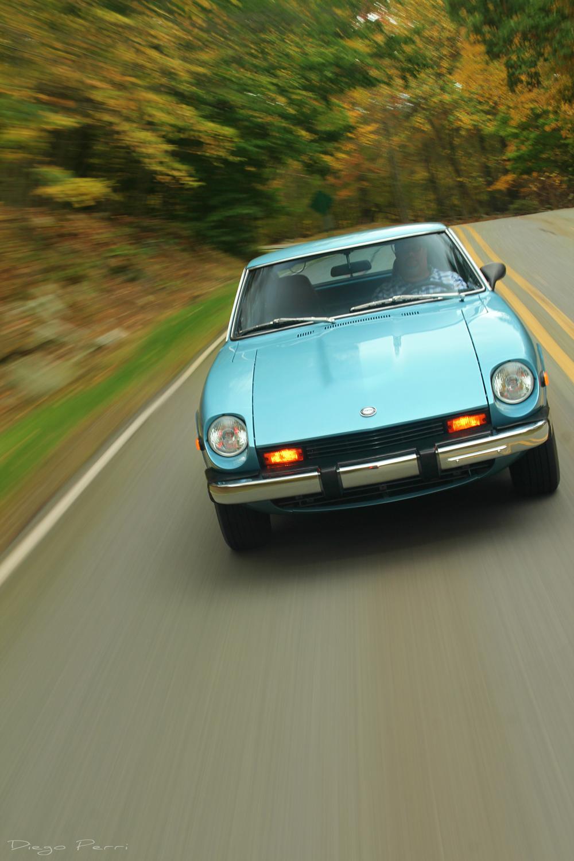 1976 Datsun 280Z front hood driving