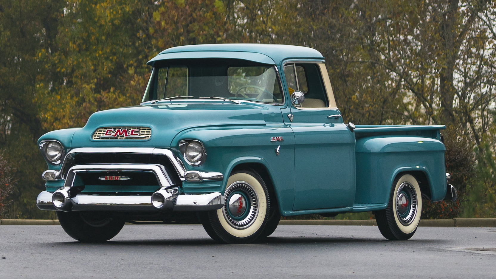 1956 GMC Series 100 front 3/4 teal pontiac engine