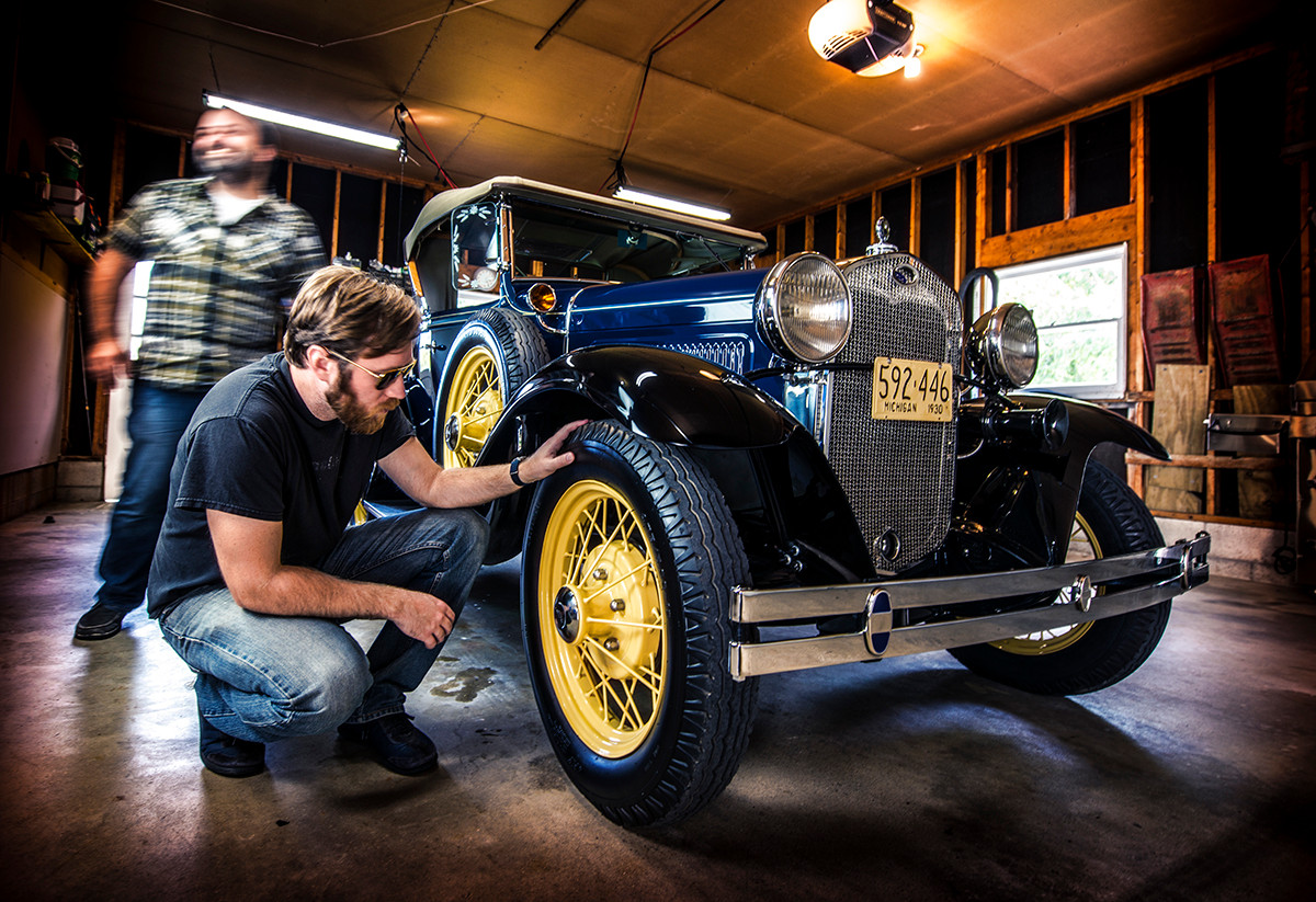 Ford Model a roadster in garage