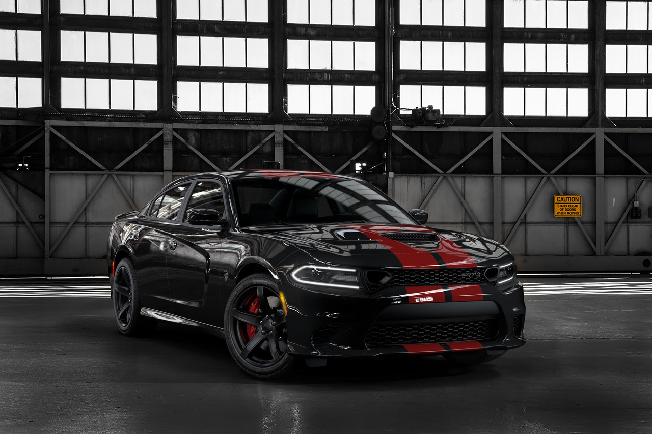 2019 Dodge Charger SRT Hellcat in Pitch Black with new Dual Red stripes