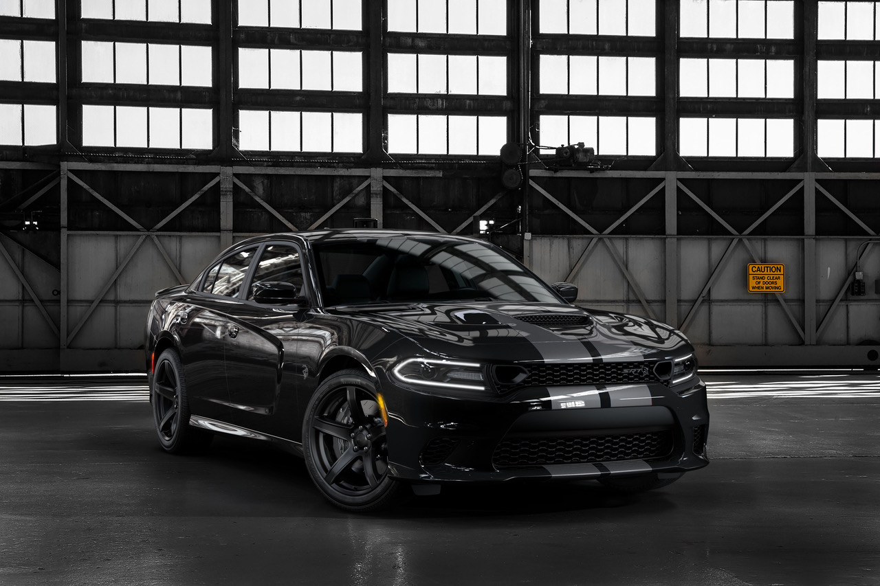 2019 Dodge Charger SRT Hellcat in Pitch Black with new Dual Silver stripes