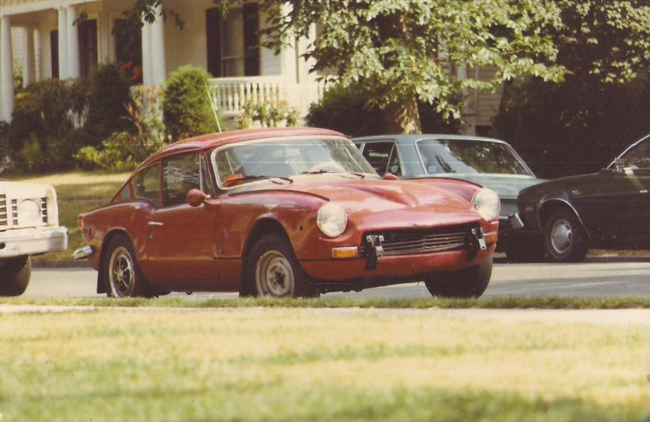 The only existing photo of my 1970 Triumph GT6+, sans front bumper.