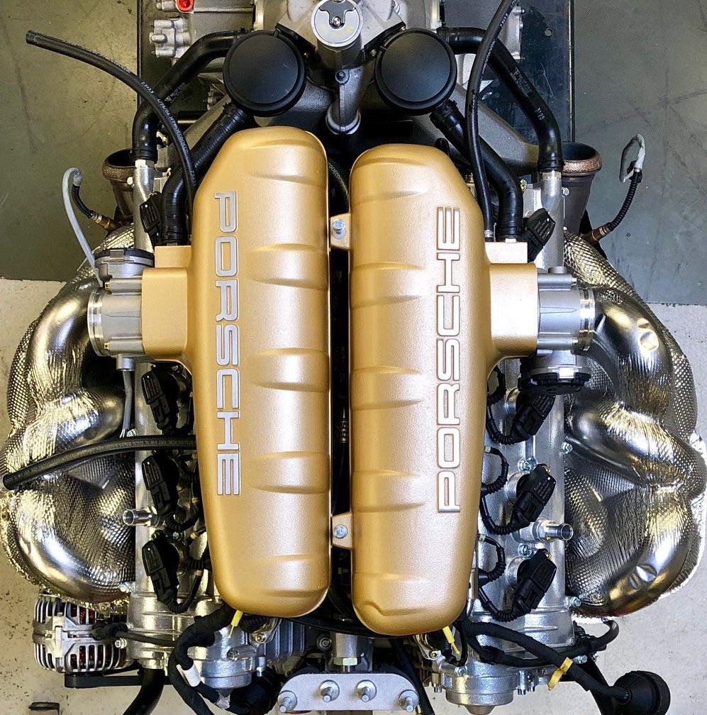 Porsche classic Carrera GT restoration green engine top