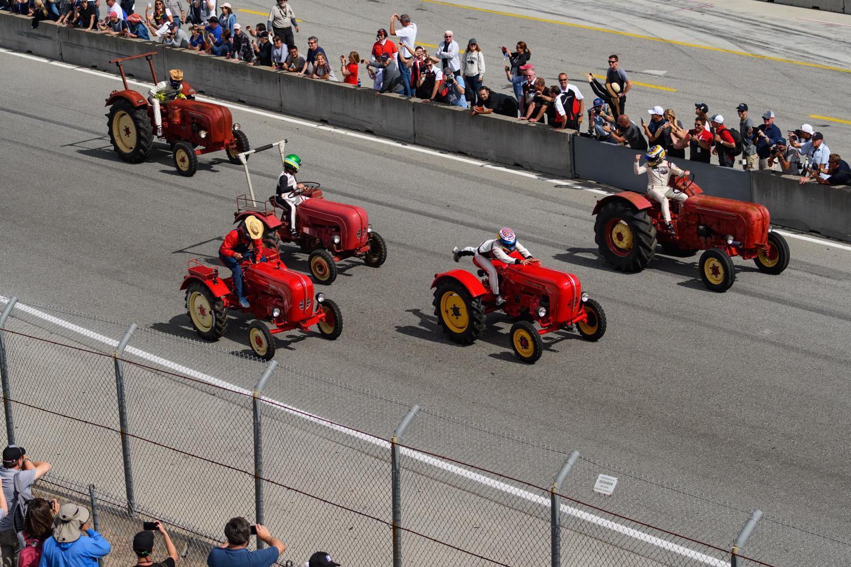 Porsche tractor race laguna seca on track starting line