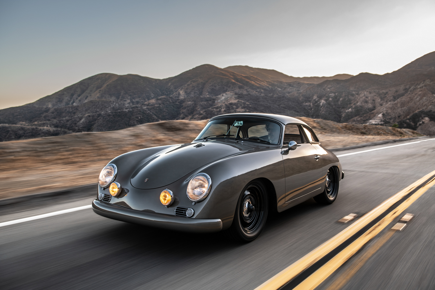 "1960 Porsche ""Emory  Special"" 356 driving 3/4 front"