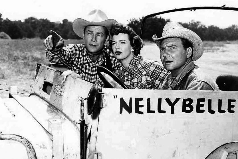 Roy Rogers, his wife Dale Evans, and sidekick Pat Brady with Nellybelle in 1952.
