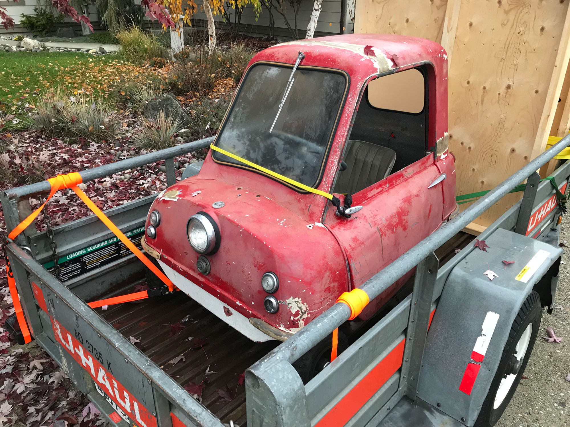 Peel P50 on a trailer