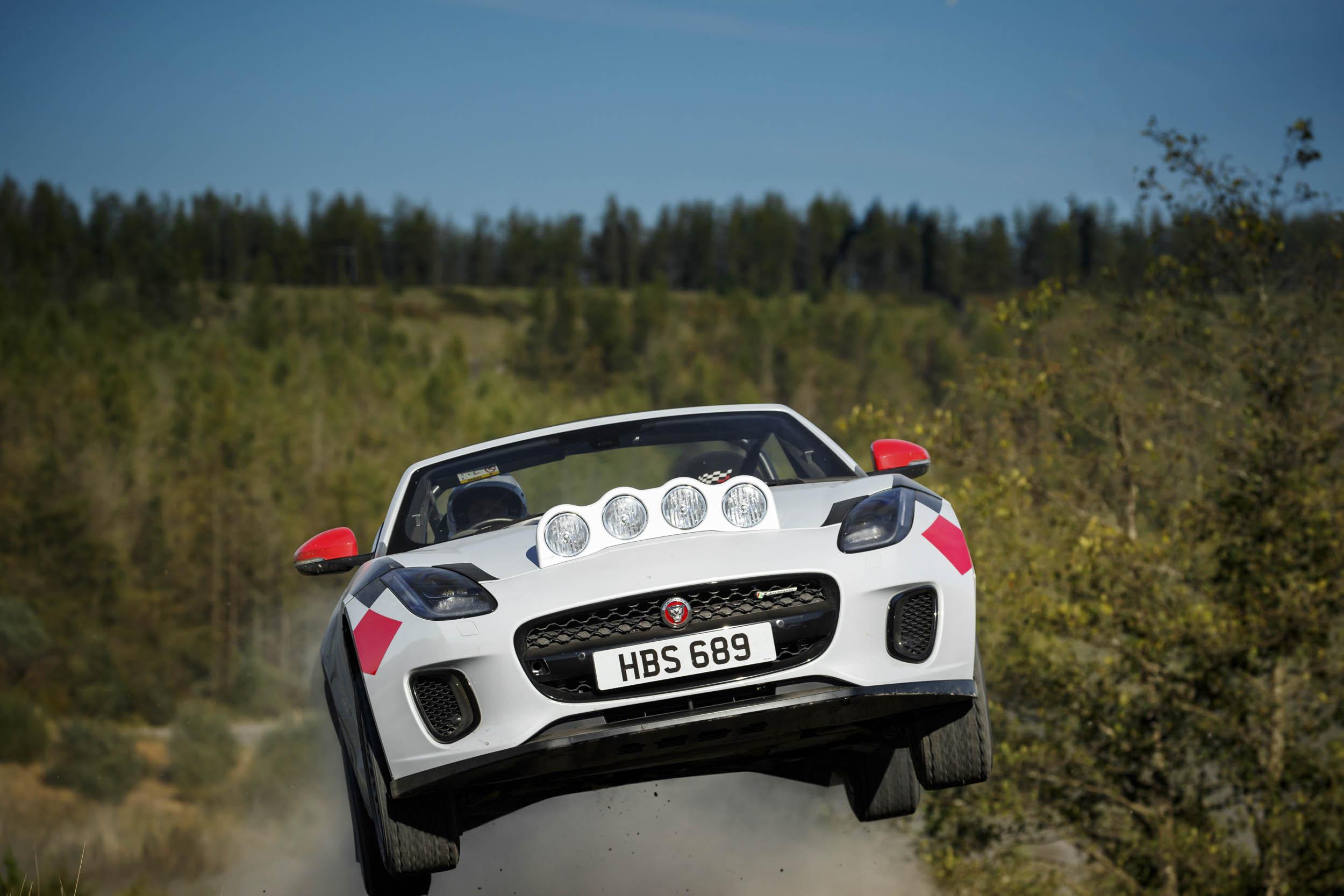 Jaguar F-type rally car jump