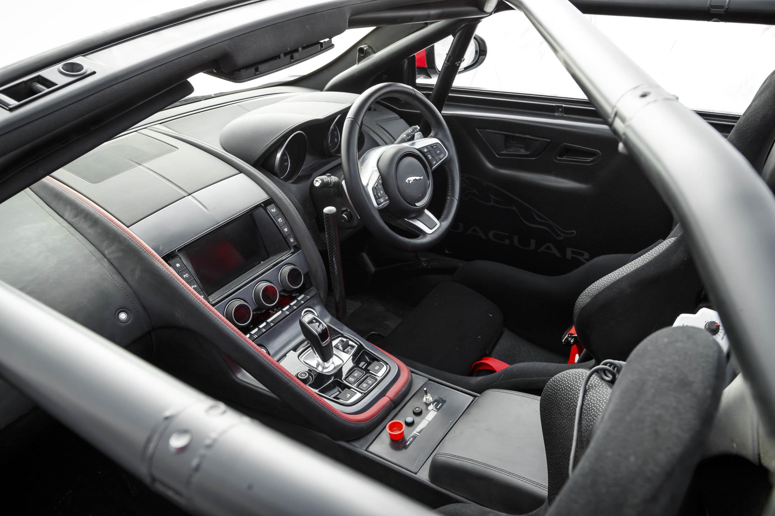 Jaguar F-type convertible rally car interior