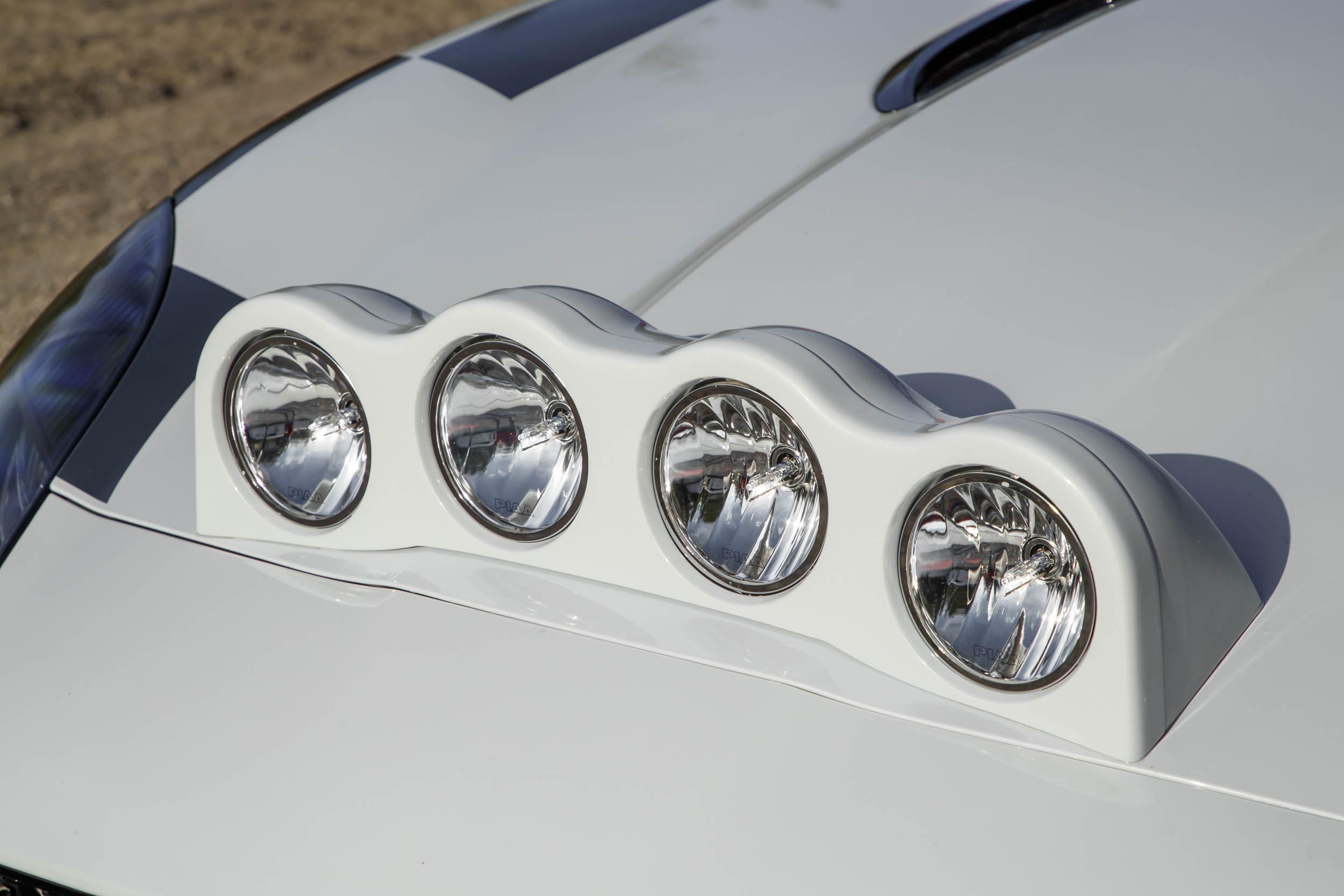 Jaguar F-type convertible rally car headlights
