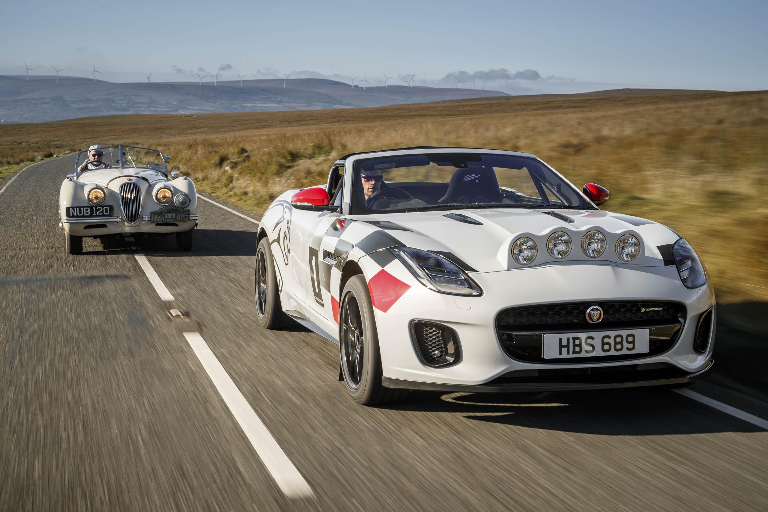Jaguar F-type convertible rally car with a XK 120