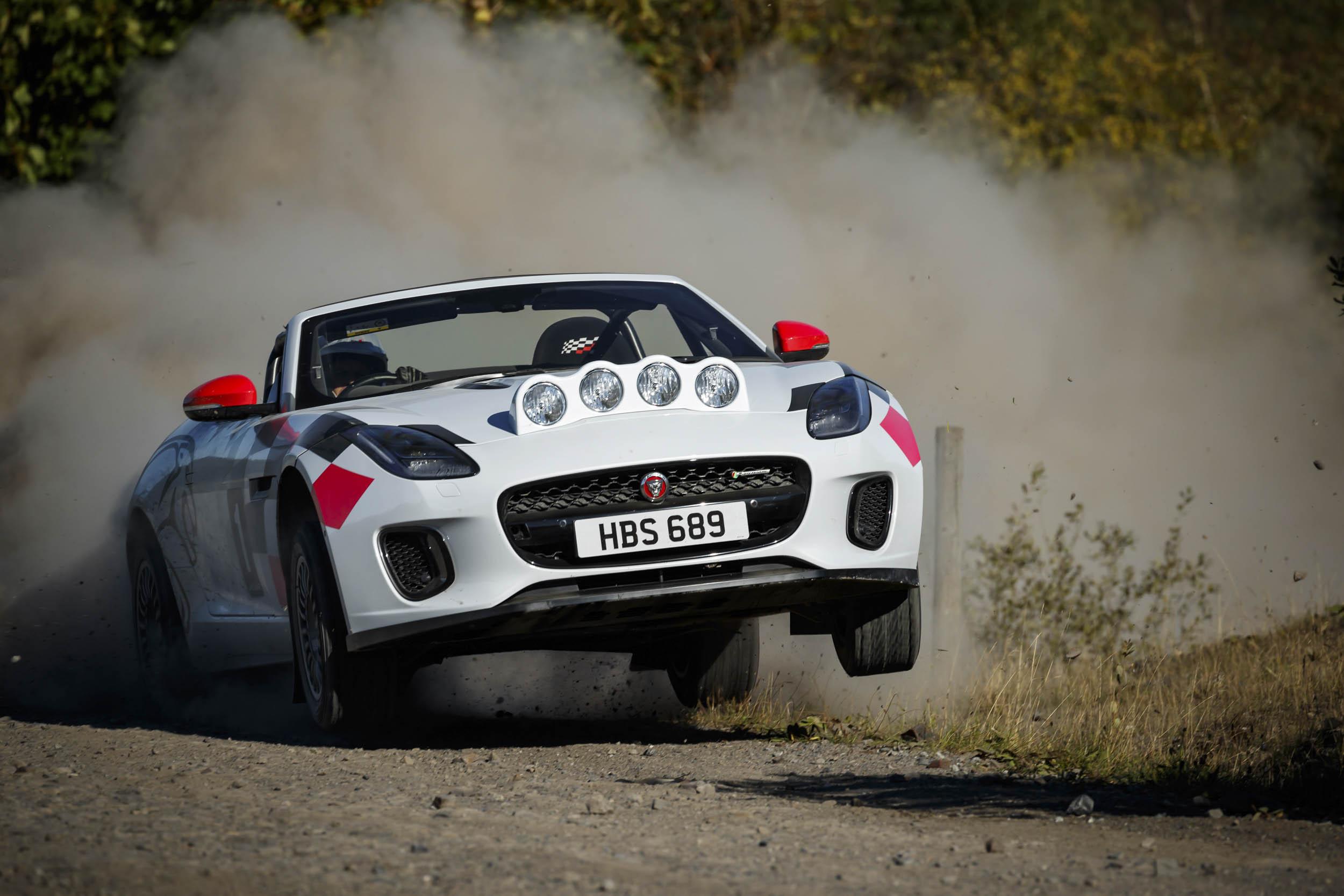 Jaguar F-type rally car hang time