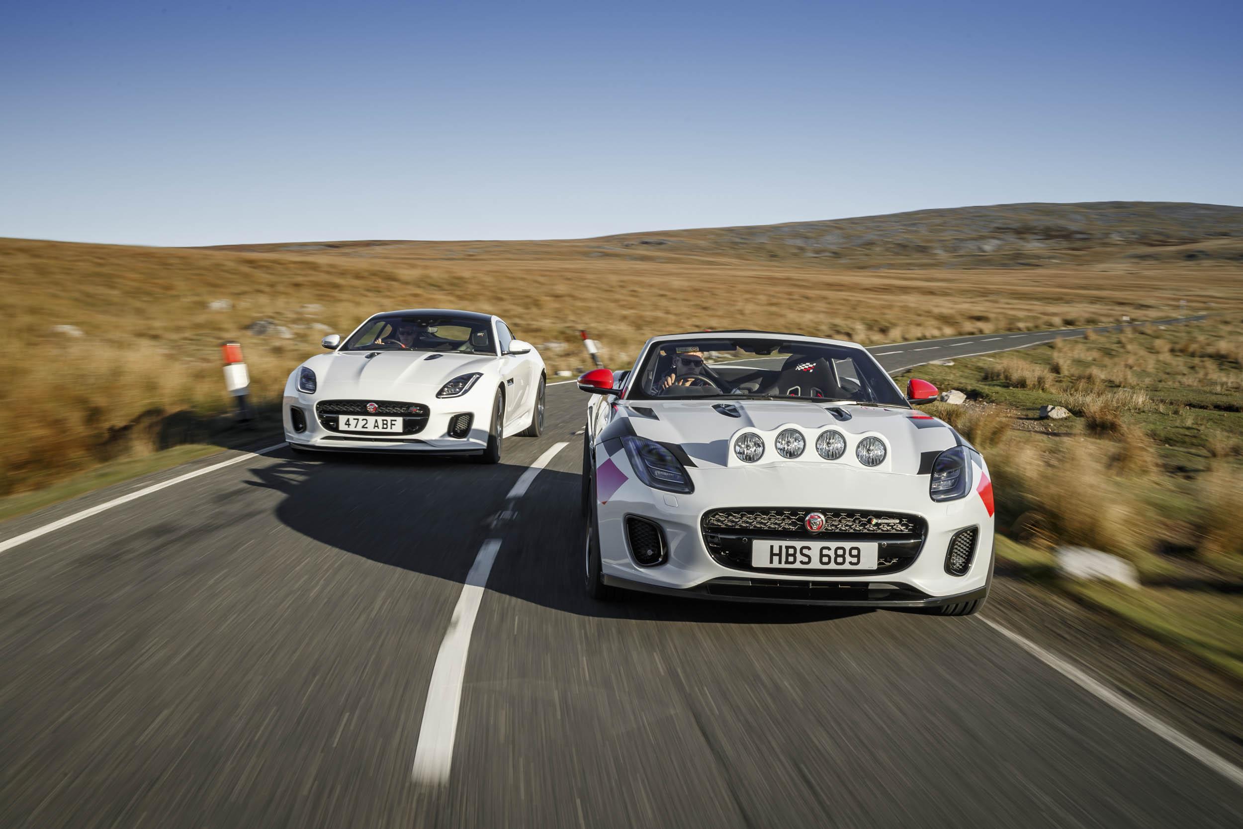 Jaguar F-type convertible rally car driving
