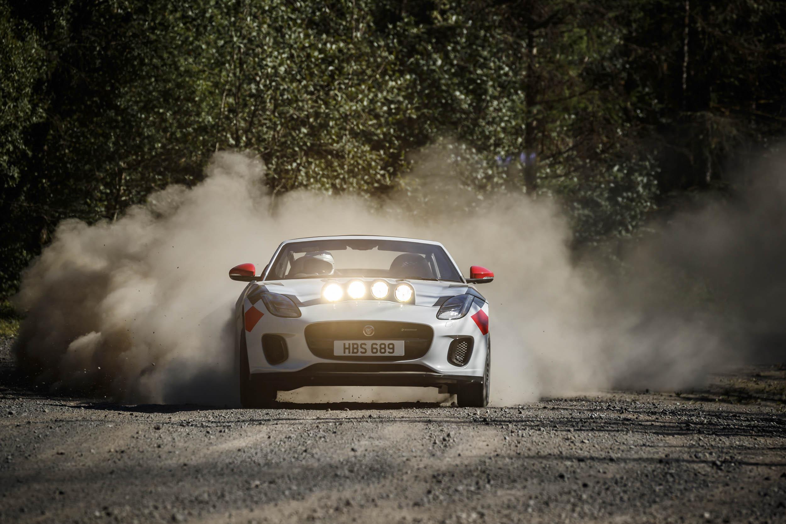Jaguar F-type convertible rally car front