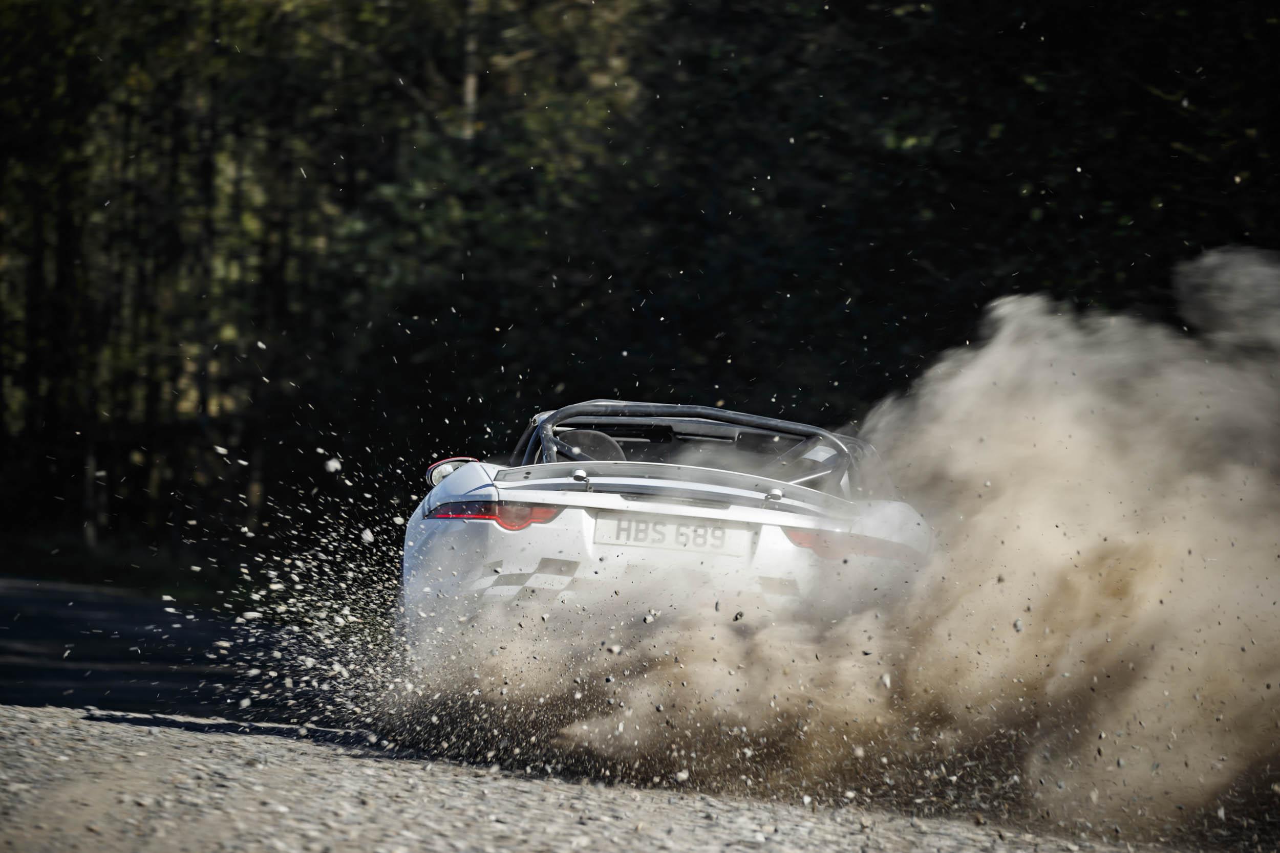 Jaguar F-type convertible rally car rear
