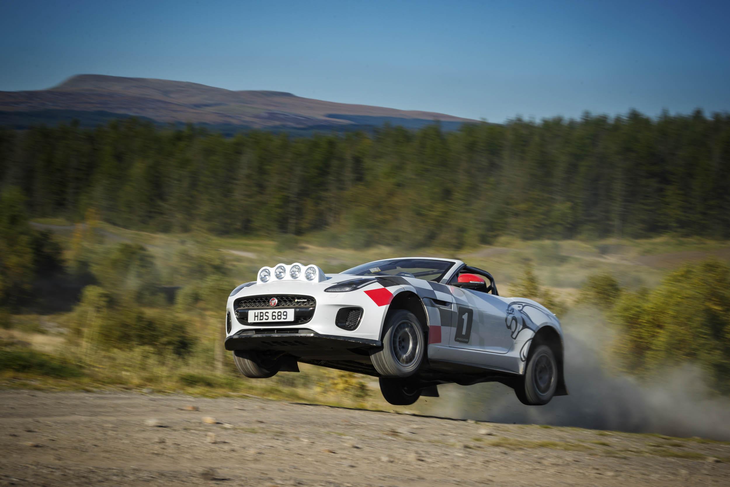 Jaguar F-type convertible rally car racing