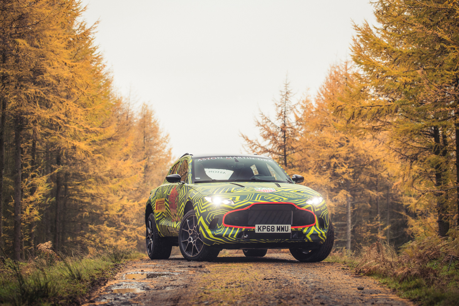 Aston Martin DBX prototype front 3/4 woods