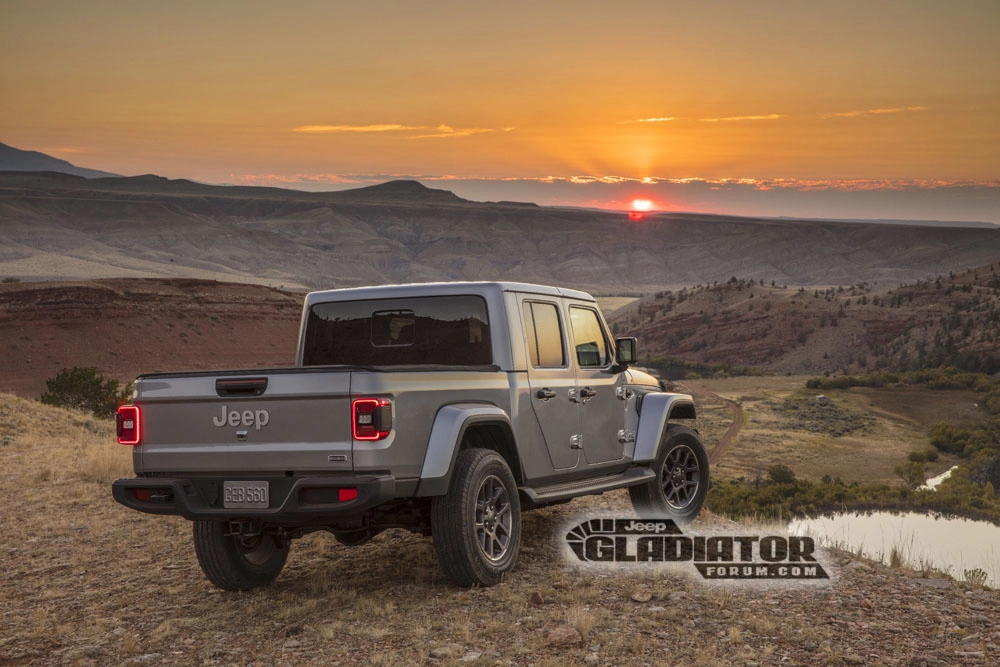 Jeep Gladiator Forum rear 3/4 gray sunset hill
