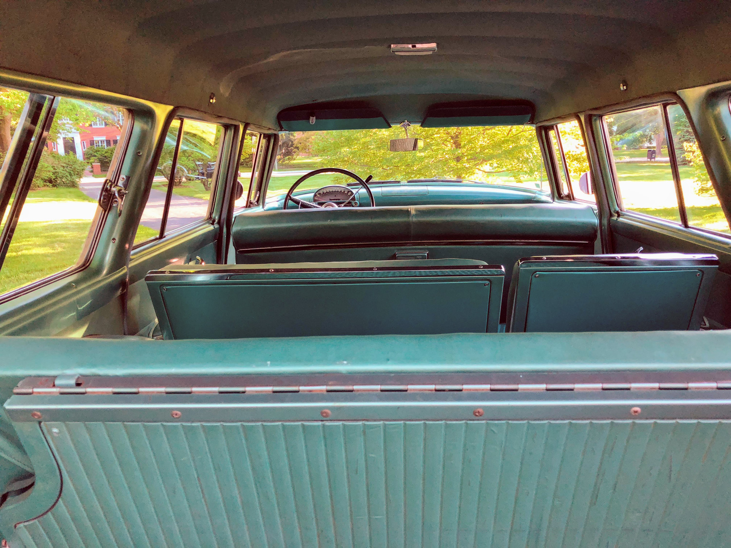 1955 Ford Country Squire Wagon interior rear