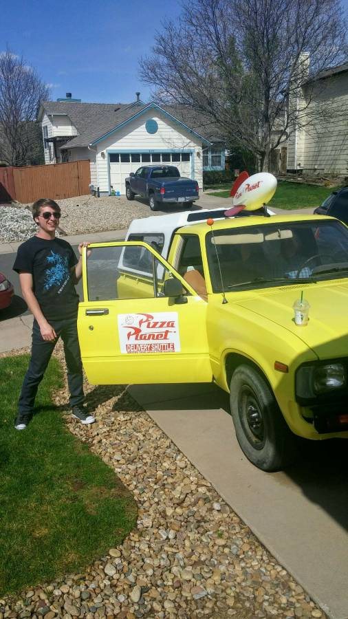 "1983 Toyota Pickup ""Pizza Planet"" owner and truck"